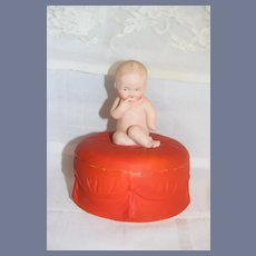 Antique Heubach Baby On Trinket Box Large Size Adorable Doll Vanity Box