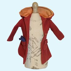 Red Hooded Doll Coat with Blue Cloth Handkerchief in Pocket