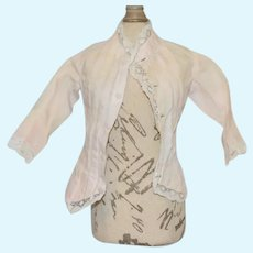 Light Pink Cotton Button Up Doll Blouse with Lace Trim