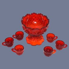 Red Glass Dollhouse Punch Bowl Set