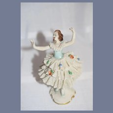 Old Miniature Dresden Ballerina Doll Figurine
