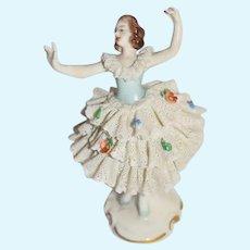 Old Miniature Dresden Ballerina Doll Figurine