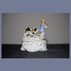Old Miniature Doll China Staffordshire Fairing Box Trinket Child & Dog