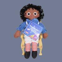Sweet Vintage Black Raggedy Ann Cloth Doll W/ Original Tag
