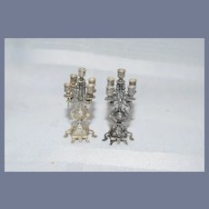 Vintage Ornate Doll Sterling Candelabra Set Miniature Dollhouse