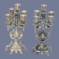 Vintage Ornate Doll Sterling Candelabra Set Miniature Dollhouse
