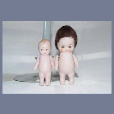 Antique All Bisque Miniature Doll Set Pink Tint Hertwig