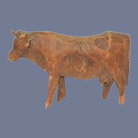 Old Carved Wood Miniature Cow Unusual Folk Art