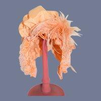 Wonderful Fancy Doll Bonnet Wire Framed Lace Feathers