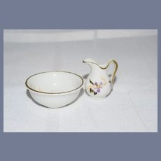 Miniature Dollhouse Flower Porcelain Bowl and Pitcher
