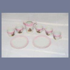 8 Piece Porcelain Dollhouse Tea Set with Gnome Painting Decor