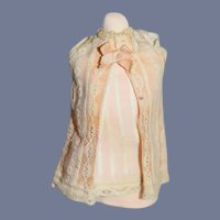Miniature Sleeveless Pink Doll Dress with Lace Overlay