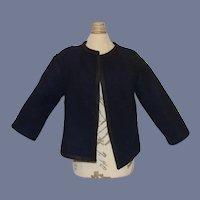 Navy Blue Felt Doll Jacket with Black Trim