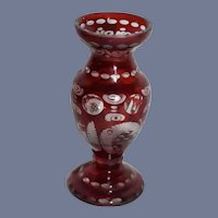 Miniature Dollhouse Red Glass Vase with Glass Shining Through
