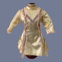Stunning Yellow Silk Doll Dress with Embroidery and Lace Details