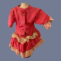 Pink Cloth Doll Dress with Lace Type Fabric Overlay and Velvet Ribbon Trim