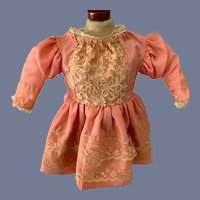 Pink Cloth and Lace Overlay Doll Dress with Loosely Pleated Skirt