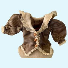Miniature Brown Striped Doll Blouse