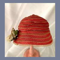 Red and Beige Woven Straw Doll Hat with Flower Accent