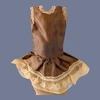 Miniature Brown Striped Doll Dress