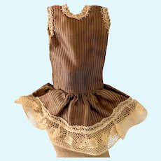 Miniature Brown Striped Doll Dress