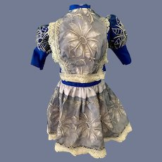 Fancy Bright Blue Doll Blouse and Flower Embroidered Skirt