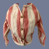 Red and White Striped Cotton Doll Blouse