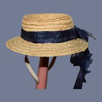 Small Straw Doll Hat with Old Blue Ribbon