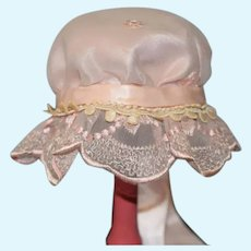 Pink Scalloped Edge Doll Bonnet with Embroidered Details