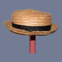 Straw Doll Hat with Black Ribbon