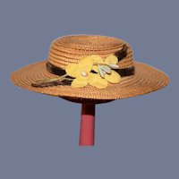 Circular Straw Doll Hat with Yellow Flowers and Brown Velvet Ribbon