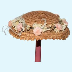 Beautiful Flower Covered Straw Doll Hat