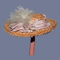 Miniature Lilac Ribbon Straw Doll Hat