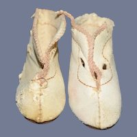 Old White Leather Doll Booties