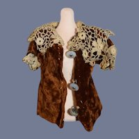 Miniature Brown Velvet Doll Coat with Lace Trim