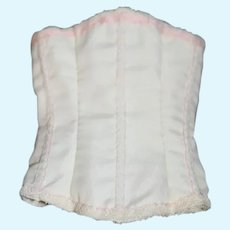 White Doll Corset with Pink and Lace Trim