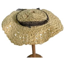 Small White Knit Doll Sun Hat with Black Ribbon