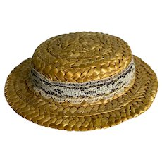 Black and White Ribbon Straw Doll Hat