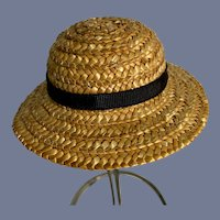 Sweet Straw Doll Hat with Black Ribbon
