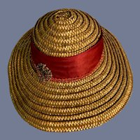 Large Straw Doll Hat with Red Ribbon