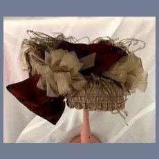 Fancy Beige Feather Doll Bonnet