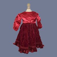 Beautiful Red Velvet and Silk Doll Dress with Tassel Decoration