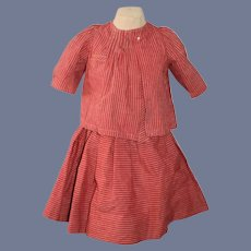 Red and White Striped Skirt and Blouse Set for Doll