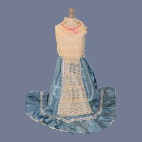 Large Sleeveless Doll Dress with Fancy Lace Overlay