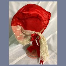 Huge Red Silk Doll Bonnet with Fancy White Lace