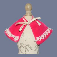 Small Bright Pink Doll Shawl with Yarn Embroidery