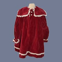Large Maroon Velvet Doll Jacket with White Heart Buttons