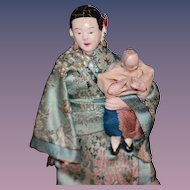 Antique Doll Oriental Dolls Set Miniature Unusual Osaka