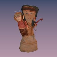 Antique Doll Peruvian Peru Indian Cloth Mother & Child Folk Art
