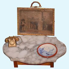 Old Miniature Set Telephone Picture German Plate Dollhouse